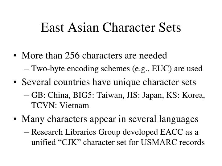East Asian Character Sets