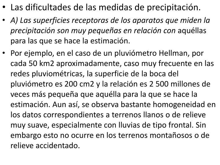 Las dificultades de las medidas de precipitación.