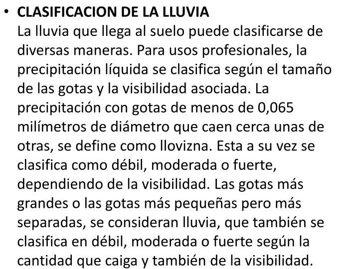 CLASIFICACION DE LA LLUVIA