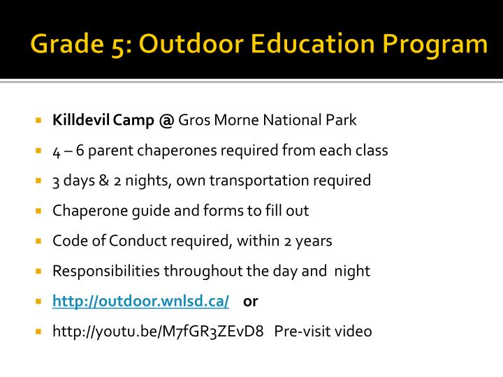 Grade 5: Outdoor Education Program