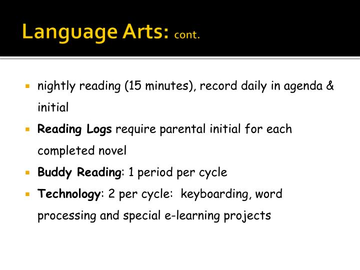 Language arts cont