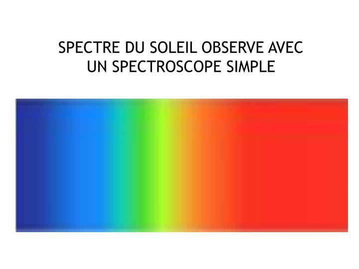 SPECTRE DU SOLEIL OBSERVE AVEC UN SPECTROSCOPE SIMPLE