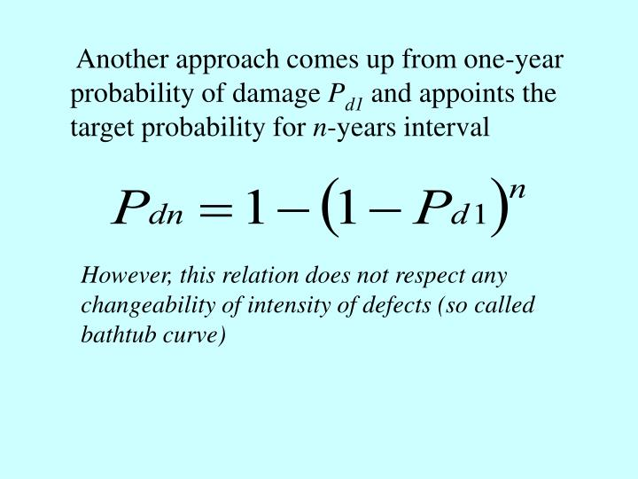 Another approach comes up from one-year probability of damage