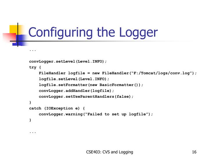 Configuring the Logger