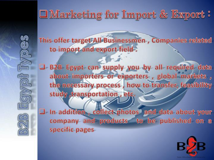 Marketing for Import & Export :
