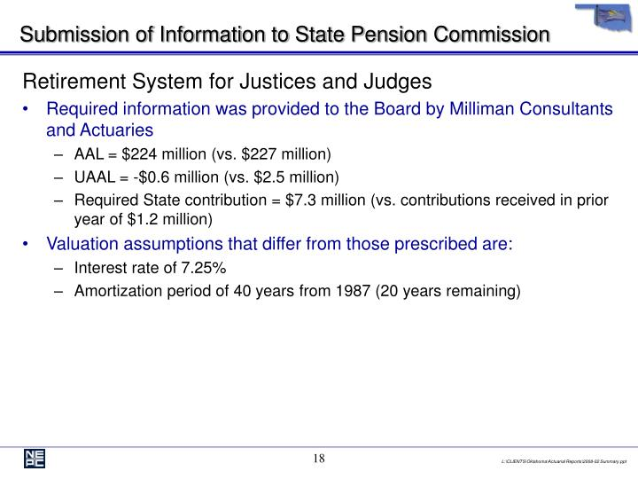 Submission of Information to State Pension Commission