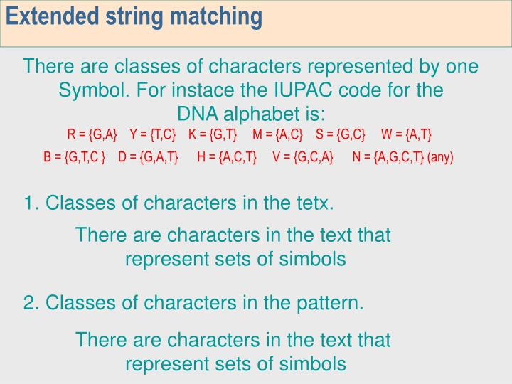 Extended string matching