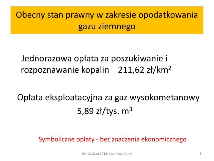 Obecny stan prawny w zakresie opodatkowania gazu ziemnego