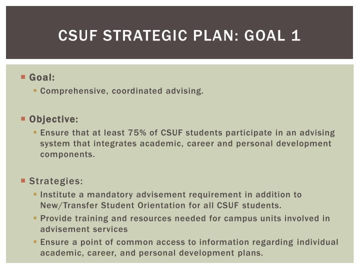 CSUF Strategic Plan: Goal 1
