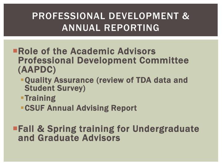 Professional development & annual reporting