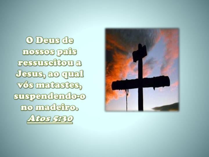 O Deus de nossos pais ressuscitou a Jesus, ao qual vós matastes, suspendendo-o no madeiro.