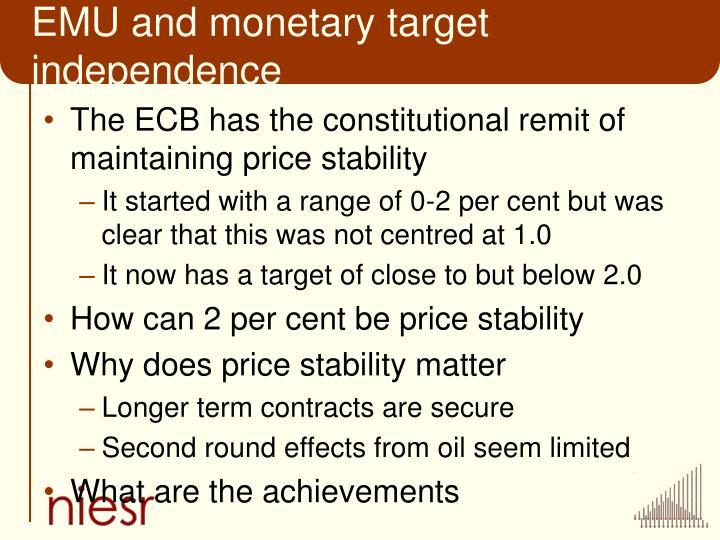 EMU and monetary target independence