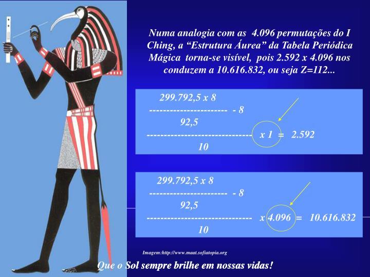 """Numa analogia com as  4.096 permutações do I Ching, a """"Estrutura Áurea"""" da Tabela Periódica Mágica  torna-se visível,  pois 2.592 x 4.096 nos"""