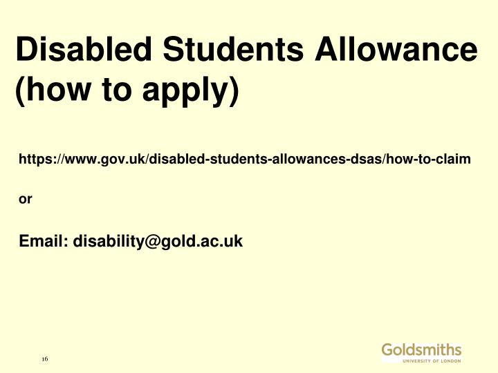 Disabled Students Allowance (how to apply)