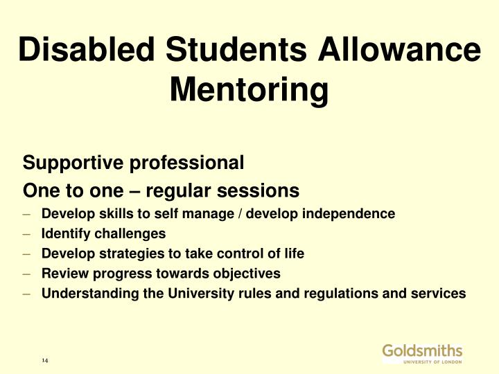 Disabled Students Allowance Mentoring