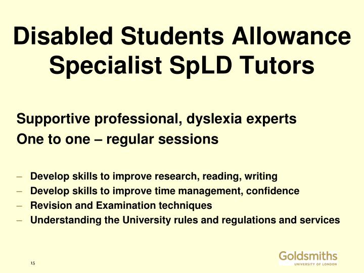 Disabled Students Allowance Specialist SpLD Tutors