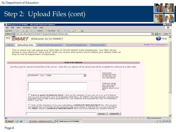 Step 2:  Upload Files (cont)