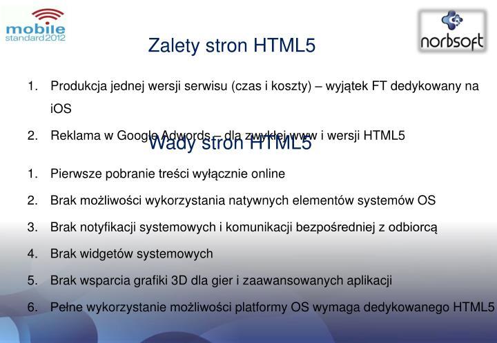 Zalety stron HTML5