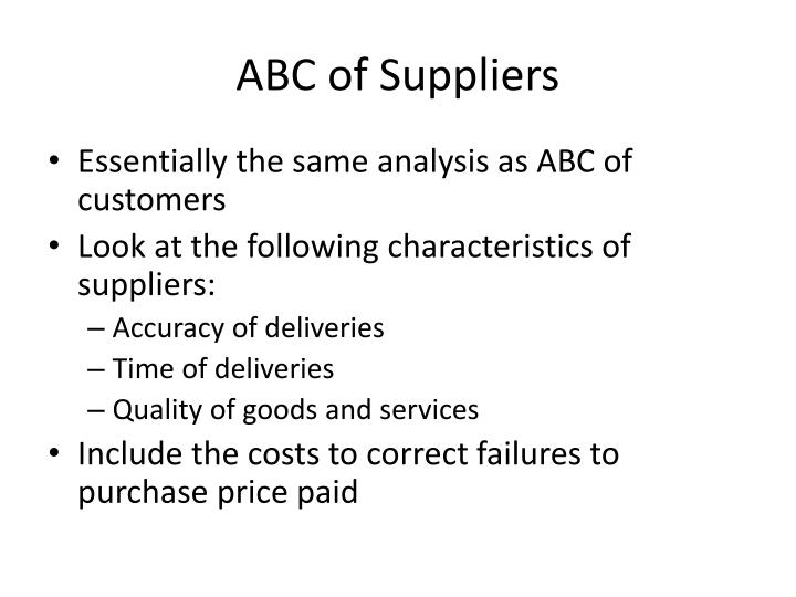 ABC of Suppliers