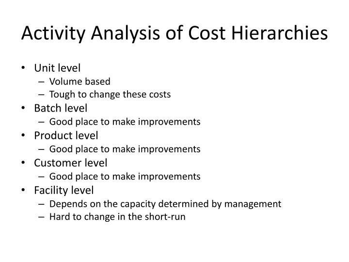 Activity Analysis of Cost Hierarchies