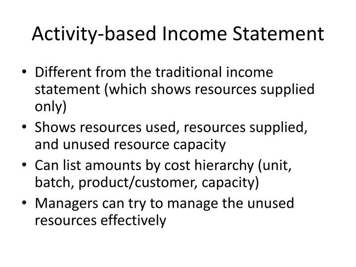 Activity-based Income Statement