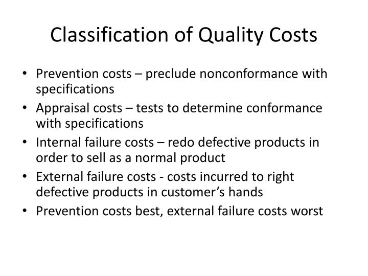 Classification of Quality Costs