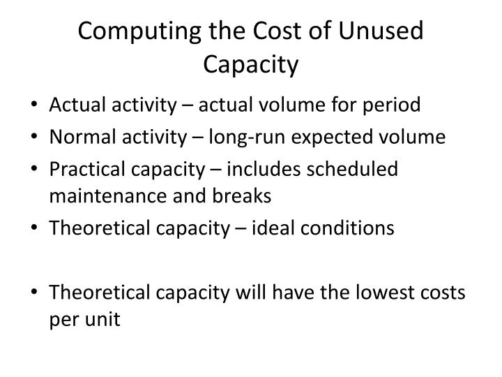 Computing the Cost of Unused Capacity