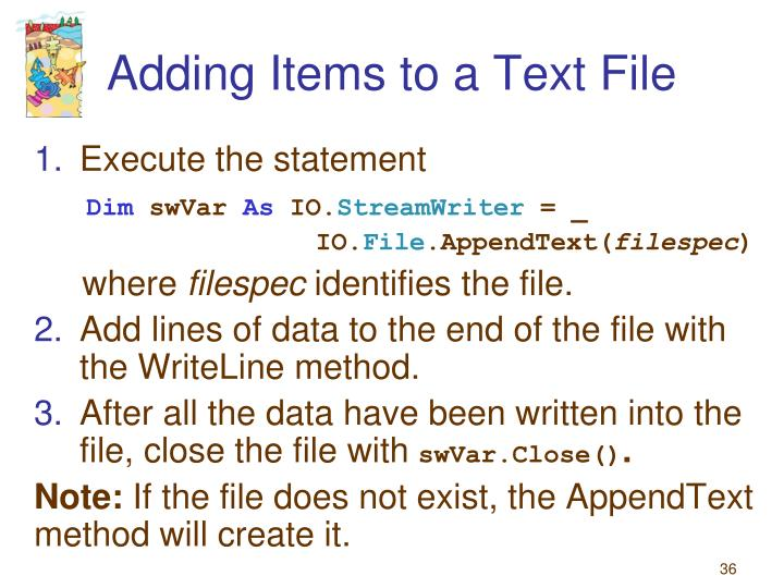 Adding Items to a Text File