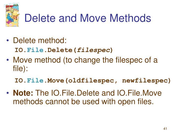 Delete and Move Methods