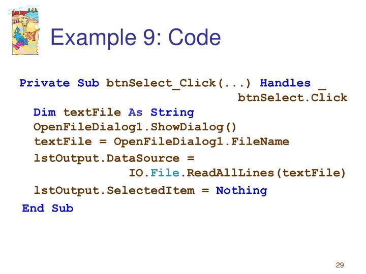 Example 9: Code