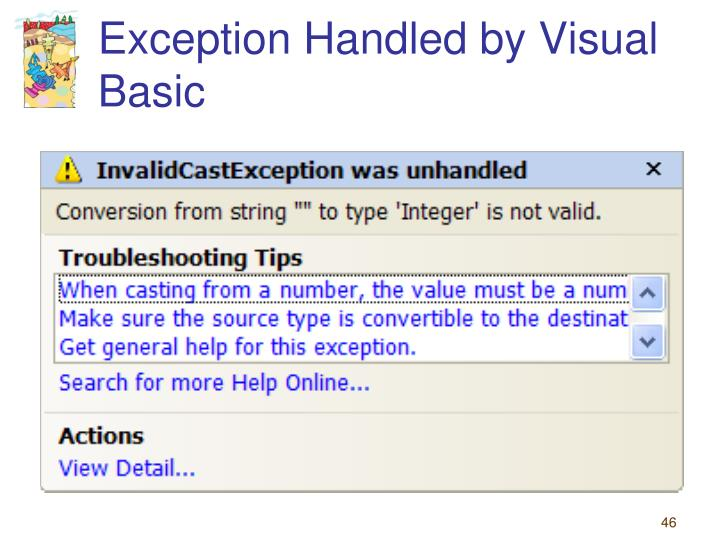 Exception Handled by Visual Basic