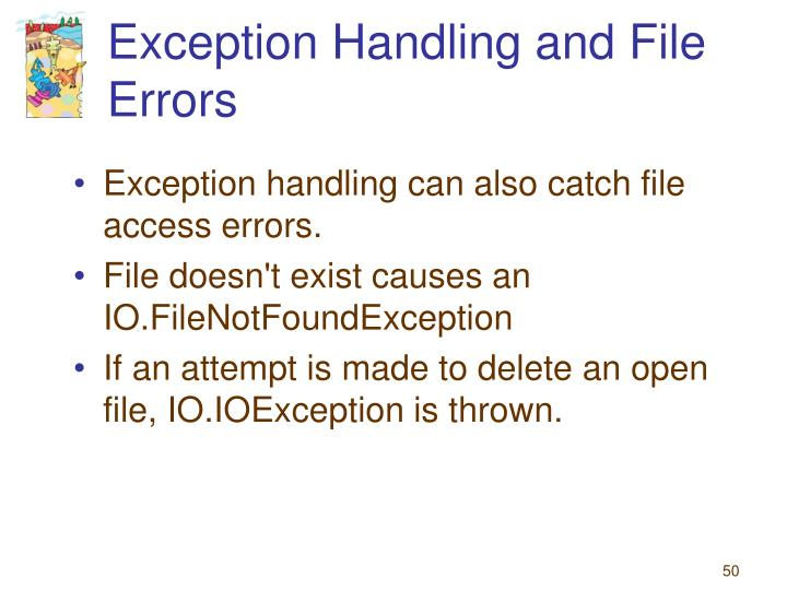 Exception Handling and File Errors