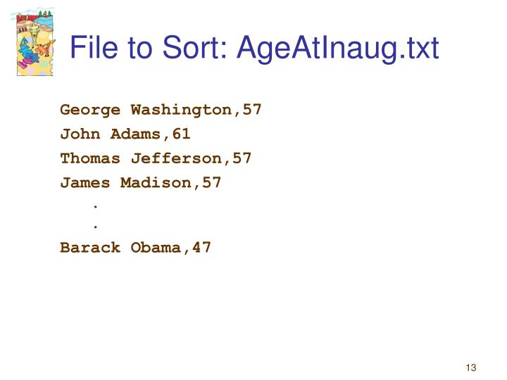 File to Sort: AgeAtInaug.txt