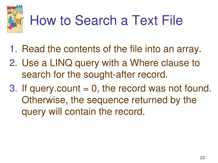 How to Search a Text File