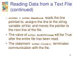 reading data from a text file continued