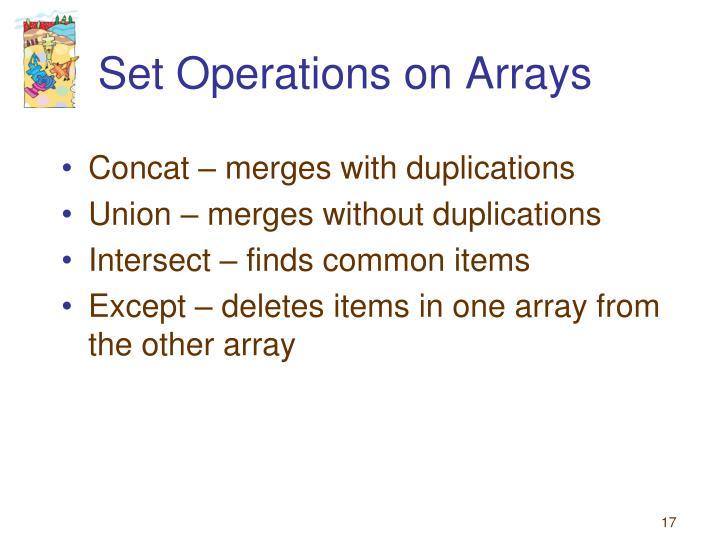 Set Operations on Arrays