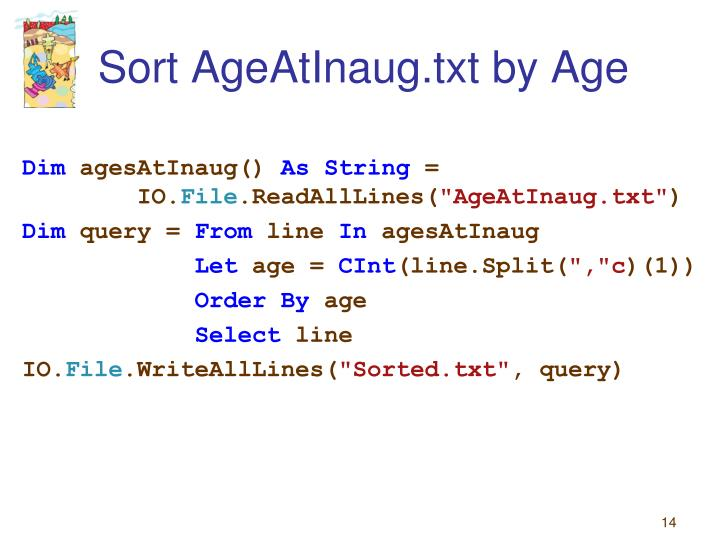 Sort AgeAtInaug.txt by Age