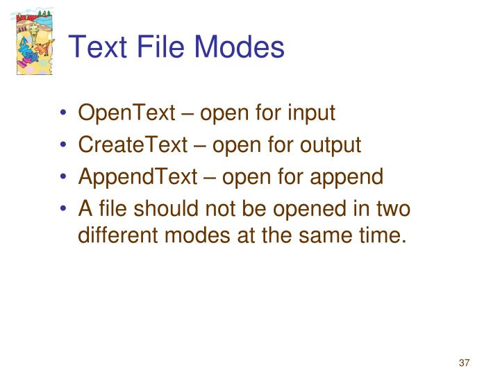 Text File Modes