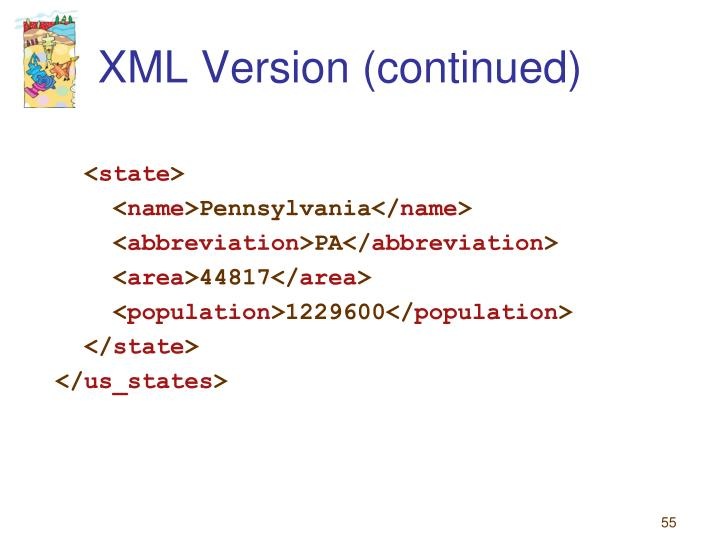 XML Version (continued)