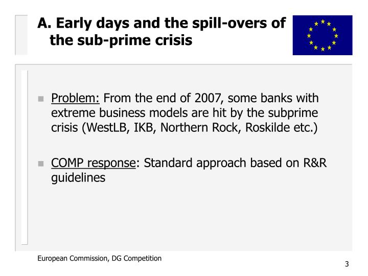 A. Early days and the spill-overs of   the sub-prime crisis