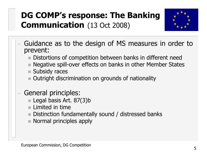 DG COMP's response: The Banking Communication