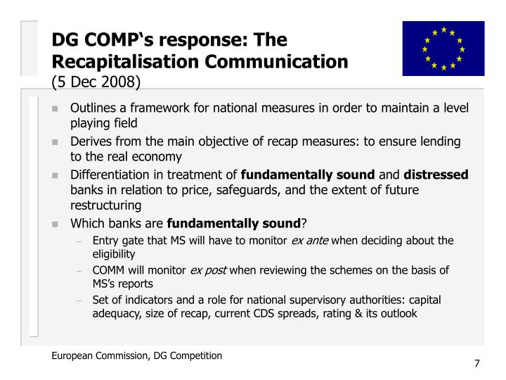 DG COMP's response: The Recapitalisation Communication
