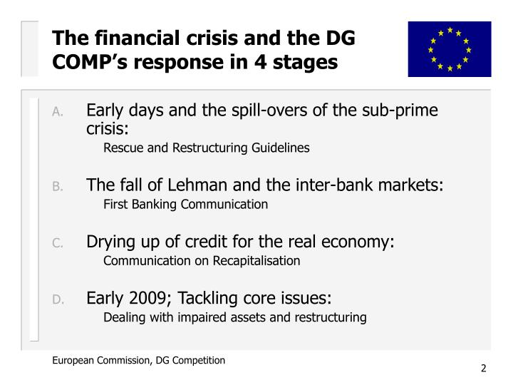 The financial crisis and the DG COMP's response in 4 stages