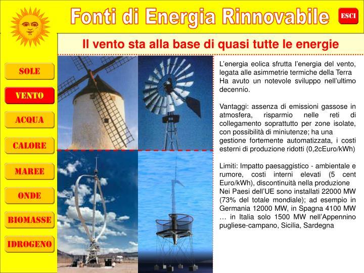 Il vento sta alla base di quasi tutte le energie