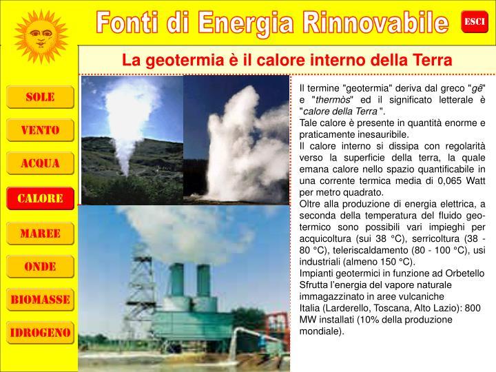 La geotermia è il calore interno della Terra