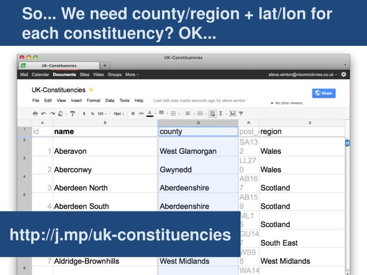 So... We need county/region + lat/lon for each constituency? OK...