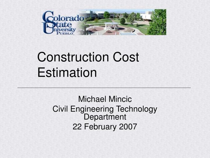construction cost estimation