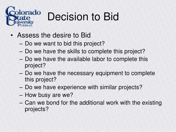 Decision to Bid