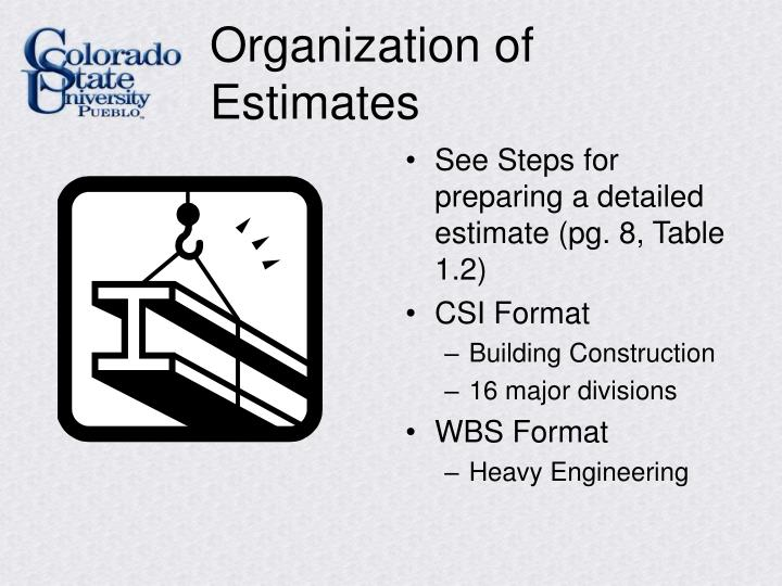 Organization of Estimates