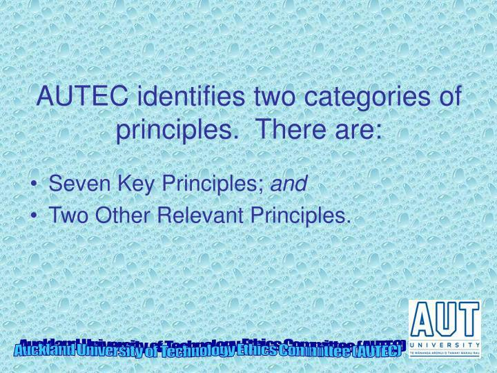 AUTEC identifies two categories of principles.  There are:
